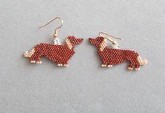 Beaded Dachshund Earrings by DsBeadedCrochetedEtc on Etsy, $20.00