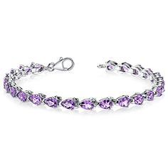 Amethyst Tennis Bracelet Sterling Silver Rhodium Nickel Finish 7.75 Carats Pear Shape ** Check out this great product.