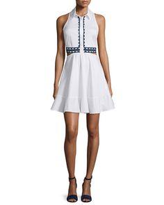 JONATHAN SIMKHAI Contrast-Trim Oxford Shirtdress, White/Navy. #jonathansimkhai #cloth #