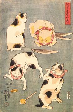 Kuniyoshi Utagawa Four Cats in Different Poses, Cats in Asian Art, Japanese cat art Japanese Bobtail, Japanese Cat, Japanese Culture, Vintage Japanese, Gato Bobtail, Gato Calico, Calico Cats, Asian Cat, Kuniyoshi
