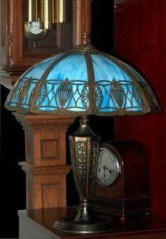 Blue Slag Vintage Antique Glass Lamp