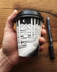 Why well take a cup of that . Thousands of dots go into the making of this by by adobe Coffee Cup Crafts, Coffee Cup Art, Coffee Cup Drawing, Coffee Shop Branding, West Art, Landscape Drawings, Cup Design, Art For Art Sake, New Artists