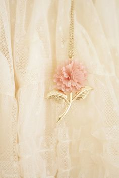 Cloth and Gold Flower Necklace