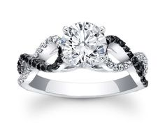 Black & White Diamond Engagement Ring infinity Diamonds band