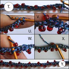 See step by step photographs and instructions for how to make a beaded crochet necklace. This tutorial accompanies a free crochet pattern for a beaded necklace with dichroic glass pendant.: How to Crochet Row 2 of the Beaded Necklace Crochet Necklace Tutorial, Crochet Beaded Necklace, Crochet Bracelet, Beaded Jewelry, Handmade Jewelry, Peyote Bracelet, Beaded Necklaces, Tutorial Crochet, Gold Necklace