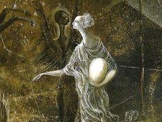 Leonora Carrington: se articula en dos planos. El fondo, pintado con oscuras manchas de negro y sepia que se superponen por transparencia, está salpicado por manchas  simulan estrellas y constelaciones. Sobre este fondo estelar se destaca un conjunto de figuras: la dama blanca y el ángel negro, el caballo oscuro y el jinete claro, la decapitada blanca y el decapitado negro, el perro y la serpiente, el arpa y el libro, el vagabundo y el hipogrifo.
