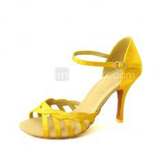 Customizable Women's Dance Shoes Latin/Salsa Satin Customized Heel Black/Blue/Yellow/Pink/Purple/Red/White/Fuchsia 2015 – $33.24