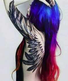 Best Back Tattoos for Men and Women Cool Back Tattoo Designs and Ideas Updated Daily- Angel Wings Tattoo Sexy Tattoos, Trendy Tattoos, Body Art Tattoos, Sleeve Tattoos, Tattoos For Women, Black Crow Tattoos, Angel Tattoo For Women, Tattoos Skull, Feminine Tattoos