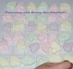Patterning with Bunny Marshmallows - Easter-themed learning and play for preschool!