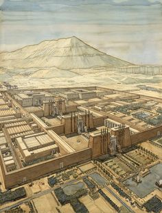 Thebes – Jean-Claude Golvin – – Famous Last Words Ancient Egyptian Architecture, Architecture Antique, Historical Architecture, Fantasy City, Fantasy Places, Luxor, Ancient Art, Ancient History, Egyptian Temple
