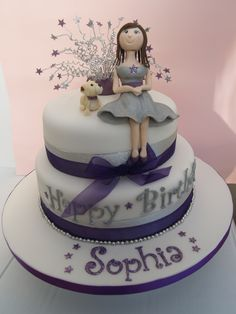 birthday cake - two tier purple and silver sponge cake with the birthday girl modelled on the top with her dog 18th Birthday Cake For Girls, 21st Birthday Cakes, Dog Cakes, Girl Cakes, Chanel Birthday Cake, Birthday Party Decorations Diy, Birthday Ideas, Fondant People, Celebration Cakes