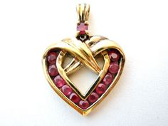 Ruby Heart Pendant Vermeil Gold Sterling Silver Red Gemstone 925 Necklace Slide   Jewelry & Watches, Fine Jewelry, Fine Necklaces & Pendants   eBay!