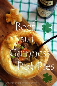 I made Beef and Guinness Pot Pies a couple of weeks ago and put a couple in the freezer in anticipation of St. Patrick's Day to pull out and bake today! You could use any Irish Stew recipe, frozen . Irish Stew, Beef Pot Pies, Meat Pies, Simply Yummy, St Patricks Day Food, Frozen Puff Pastry, Irish Recipes, Scottish Recipes, Irish Meals