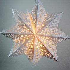 Large Winter Solstice Snowflake Paper Star Lantern, Hanging Decoration (Light Not Included) for Sale Now! Many more Paper Star Lanterns available in many colors, patterns, and designs on Sale in Bulk at Best Wholesale Prices. Paper Star Lights, Paper Star Lanterns, Paper Lantern Store, Paper Light, Paper Stars, White Lanterns, Lanterns Decor, Cheap Lanterns, Snowflake Decorations