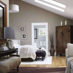 We have a huge vaulted ceiling in our bedroom which is about 20ft high on one end with a lot of windows! I think this colour would be beautiful.