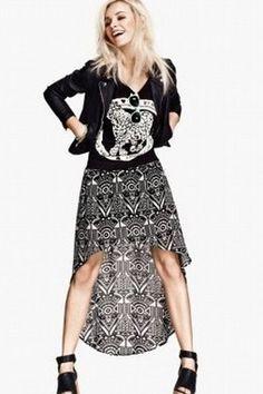 GrabMyLook  Black White Vintage Retro Chiffon Long Back Dress Skirt