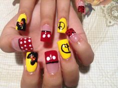Check Out These creative Disney Nails, Mickey Mouse,Minnie Mouse, Disney Art, Cartoon Nail Art Cartoon Nail Designs, Gem Nail Designs, Cute Acrylic Nail Designs, Fingernail Designs, Creative Nail Designs, Creative Nails, Minnie Mouse Nails, Mickey Mouse Nails, French Acrylic Nails