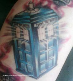 TARDIS Tattoo With Light Coming Out The Windows #tardis #tardistattoo #doctorwho #doctorwhotattoo