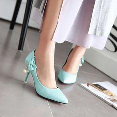 Hot Womens European High Heels Pearls Stiletto Pretty Bow Fringe Shoes Slip On