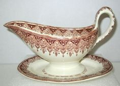 Copeland Spode Gravy Boat Alhambra Under Plate Pottery China Transfer Brown 1888 #WTCopelandSons