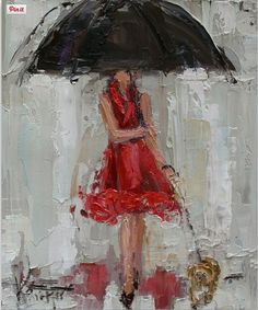 Kathryn Trotter Umbrella Painting, Umbrella Art, Under My Umbrella, Kathryn Morris, Walking In The Rain, Trotter, Wall Art Decor, Fashion Art, Fine Art