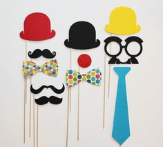 Celebrations - Photobooth Props - Circus Photo Booth Props - 11 piece set - Birthdays, Weddings, Parties - Photobooth Props.
