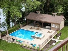 Relax & Entertain at Your Lakefront Resort Home W/ Pool & Spa! Beautiful lakefront home with pool and spa. Perfect for family reunions or romantic getaways. Backyard Pool Designs, Small Backyard Pools, Swimming Pools Backyard, Pool Spa, Backyard Ideas, Branson Cabins, Lakefront Homes, Cabin Rentals, Pool Houses