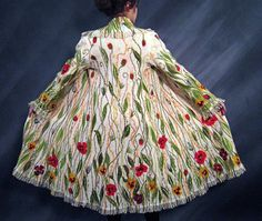 """Dreaming of Summer"" coat. Created by wet felting. Made from white wool, silk, wool and mohair yarns. Silk lining.  ChicComplement/Etsy."