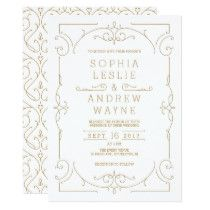 Gold elegant modern classic vintage wedding card - click/tap to personalize and buy Retro Wedding Invitations, Lavender Wedding Invitations, Vintage Wedding Cards, Elegant Wedding Invitations, Custom Invitations, Wedding Art, Wedding Ideas, Invites, Wedding Vows