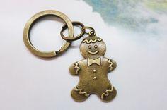 Vintage Brass Gingerbread Man Keychain from Little Heartwarming by DaWanda.com
