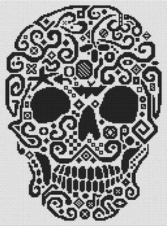 Tribal Skull - Cross Stitch Pattern...could do intarsia crochet with this...