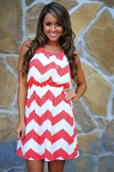 Innocence In Chevron Dress: Coral/Off White