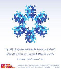 Season's greetings from Pennanen Design studio! Childrens Hospital, Merry Christmas, Seasons, Studio, Projects, Design, Merry Little Christmas, Log Projects, Happy Merry Christmas