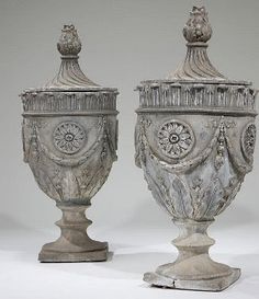Lot# 1048 A pair of monumental Neoclassic style lead garden urns French Interior, Interior Design, Window Grill Design, Garden Urns, Urn Vase, Lamp Bases, Clay Art, Wood Carving, Garden Furniture