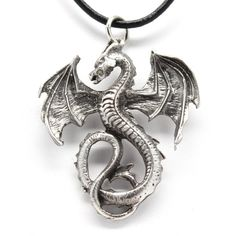 Pewter Dragon Gothic Fantasy Pendant on Leather Necklace (£6.38) ❤ liked on Polyvore featuring jewelry, necklaces, leather jewelry, pewter pendant, leather necklaces, pewter necklace and gothic necklaces