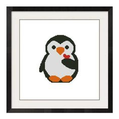 free counted cross stitch penguin patterns | ALL STITCHES - BABY PENGUIN HEART CROSS STITCH PATTERN .PDF -673
