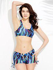 Women's Floral Print Straped Tankini Swimwear Black Red Blue – USD $ 13.99
