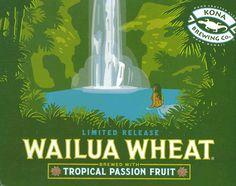 Wailua Wheat from Kona Brewing Co. Kona Brewing, Brewing Co, Hawaiian Crafts, Hawaiian Designs, Tiki Art, Beach Posters, Wheat Beer, Beaches In The World, Wine And Spirits