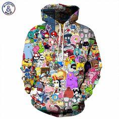 Harajuku Anime Cartoon Hoodies Adventure Time/Totoro/Pokemon Kawaii Clothes Hooded Sweatshirt Sudaderas Mujer 2019 New Hoodie Sweatshirts, Printed Sweatshirts, Anime Hoodies, Cotton Hoodies, Harajuku, Sweat Shirt, Moda Pop, Sports Hoodies, Men's T Shirts