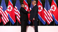 PHOTO: President Donald Trump shakes hands with North Korean leader Kim Jong Un at the Capella Hotel on Sentosa island in Singapore, June Donald Trump, Kai, Visit China, Steve Irwin, Us Presidents, North Korea, Beijing, Vietnam, Two By Two