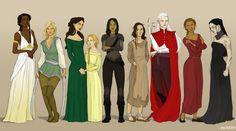 The Women of Erilea - Nehemia, Aelin, Lysandra, Evangeline, Nesryn, Elide, Manon, Sorcha, Kaltain