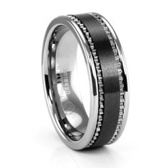 Something I definitely don't need but it is a cool design, much better than dull traditional gold...Tungsten and Black Ceramic Men's Wedding Ring #TitaniumJewelry