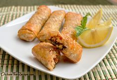 Thai Basil Chicken Phyllo Rolls