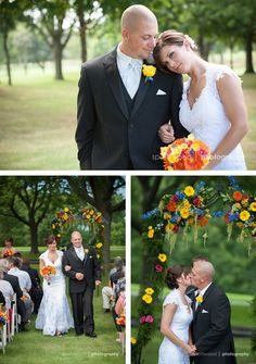 Orange Gerbera Daisies, Yellow Cymbidium Orchids, Mini Garden Roses, Hot Pink Roses & Blue Delphinium