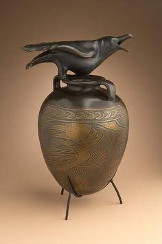 "Raven Jar (2002) by William Morris.  25""x16""x13""  Bronze edition of 12.  http://www.wmorris.com  Photo: Wendy McEahern"