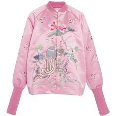 Embroidered Satin Bomber Jacket | Moda Operandi ($2,450) via Polyvore featuring outerwear and jackets
