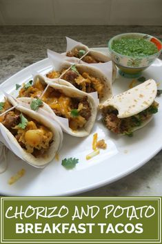 Tex-Mex breakfast tacos filled with homemade chorizo sausage, potatoes, eggs, and cheese topped with green salsa made from scratch. The perfect way to start your day with a punch of flavor! Breakfast Tacos, Breakfast Potatoes, Savory Breakfast, Chorizo Breakfast, Breakfast Recipes, Brunch Recipes, Breakfast Ideas, Pork Recipes For Dinner, Mexican Food Recipes