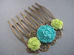 Rose Filigree Hair Comb  In Turquoise and Mint by Nazcreations, $12.00
