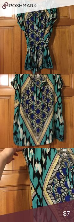 2X Pure Energy sassy tunic! Turquoise pattern. 🍭 Super bright tunic! Pure Energy,  size 2X. Wear with or without the belt. So vibrant & ready to liven up your spring wardrobe! 📦 Pure Energy Tops Tunics