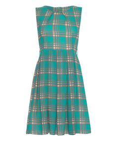 Another great find on #zulily! Green Checker Pleated Sleeveless Dress #zulilyfinds